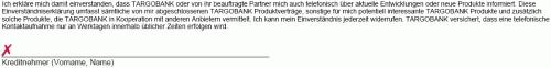 Targobank Werbeklausel